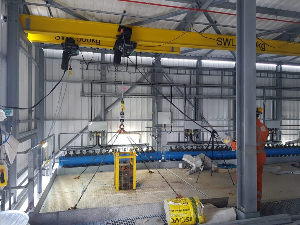The contract included the inspection of chain blocks and trolleys as they were installed.